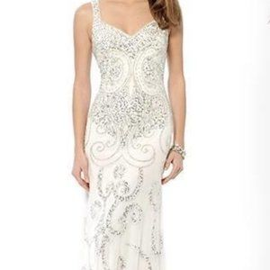 GORGEOUS Cache White Formal Gown with Silver Beads